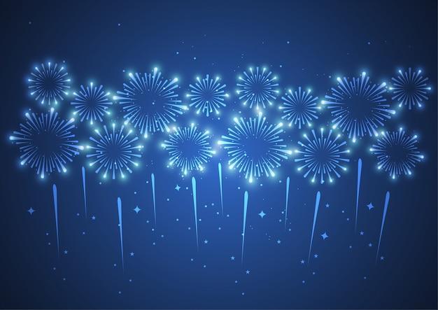 Vuurwerk op donkere achtergrond voor viering