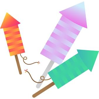 Vuurwerk raket pictogram vector fire cracker op wit