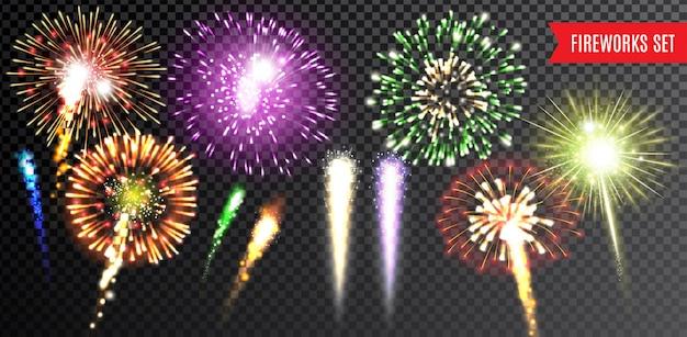 Vuurwerk transparante reeks met festival en viering geïsoleerde vectorillustratie