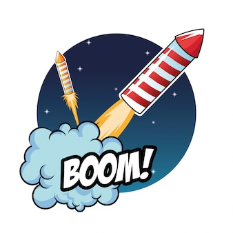 Vuurwerk viering explosie nacht pictogram. Premium Vector