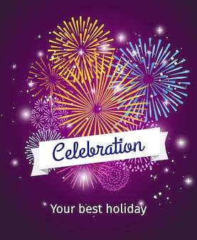 Vuurwerk viering poster sjabloon