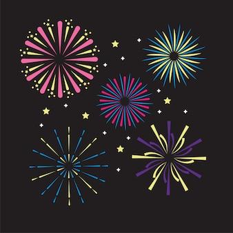 Vuurwerkdecoratie explosie show naar evenement