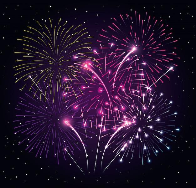 Vuurwerkexplosie op nacht donkere hemel, nieuw vector de illustratieontwerp van de jaarviering
