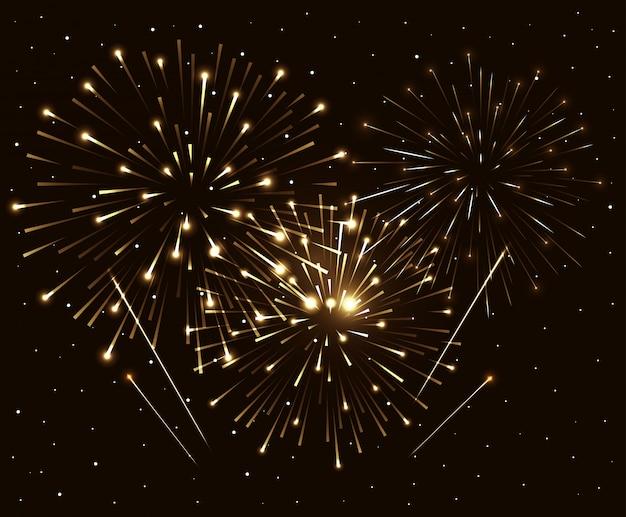 Vuurwerkexplosie op nacht donkere hemel, nieuwe jaarviering