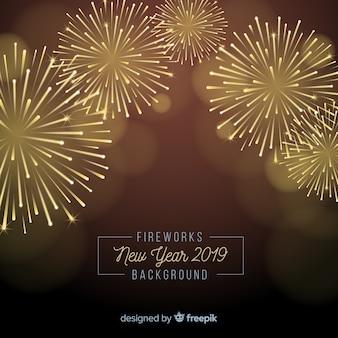 Vuurwerknieuwjaar 2019 achtergrond