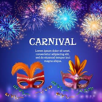 Vuurwerksamenstelling met realistische afbeeldingen van carnaval maskeert kleurrijke vuurwerkvormen