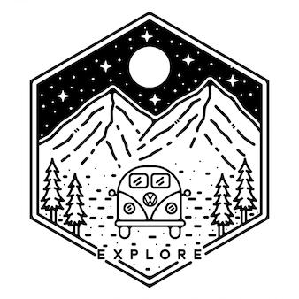 Vw cars monoline vintage outdoor badge-ontwerp