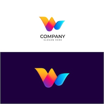 W gradiënt logo-ontwerp