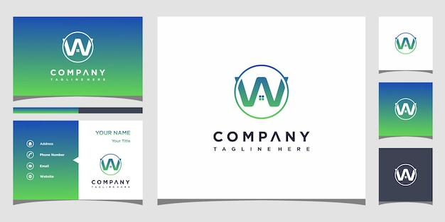 W huis logo-ontwerp met sjabloon voor visitekaartjes premium vector