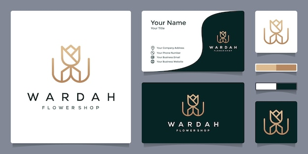 W-logo en bloemen voor bloemenwinkel met sjabloon voor visitekaartjes