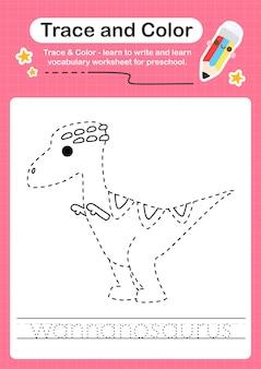 W overtrekwoord voor dinosaurussen en kleurwerkblad met het woord wannanosaurus