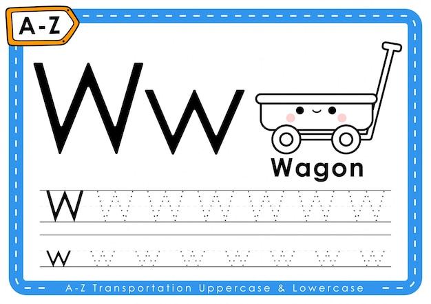 W - wagon: alfabet az transport tracing letters werkblad Premium Vector