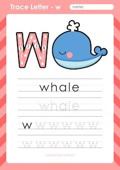 W walvis: alfabet az tracing letters werkblad - oefeningen voor kinderen