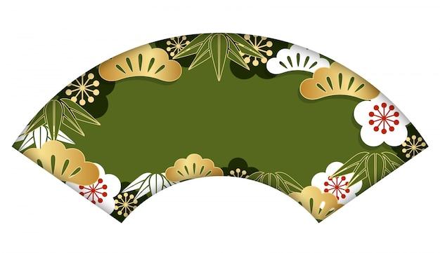 Waaier-vorm achtergrond met traditioneel japans patroon voor de kaart van het nieuwjaar, vectorillus