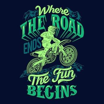 Waar de weg eindigt, begint het plezier met het zeggen van motorcross-uitspraken