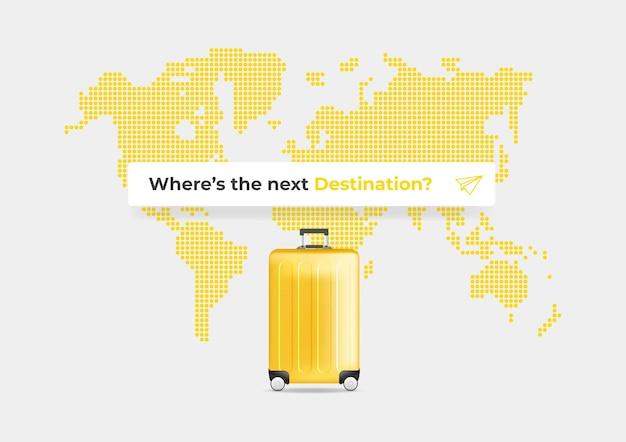 Waar is de volgende bestemmingstekst in het zoekvak op de achtergrond van de wereldkaart.