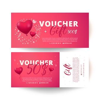 Waardebon van liefde en valentijnskaartdag. verkoop 50 procent korting.