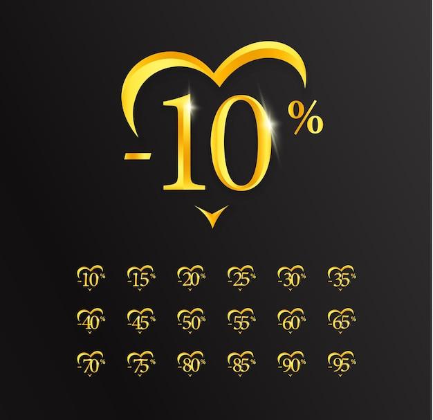 Waardekortingen, 10 procent verkoop, gouden cijfers en hart, label of teken. ontwerp voor promoties, kortingen, exclusieve aanbiedingen en verkopen op valentijnsdag.