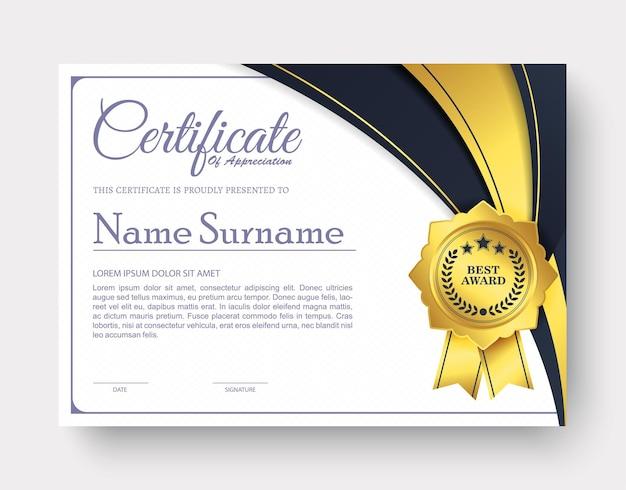 Waardering certificaat beste award diploma
