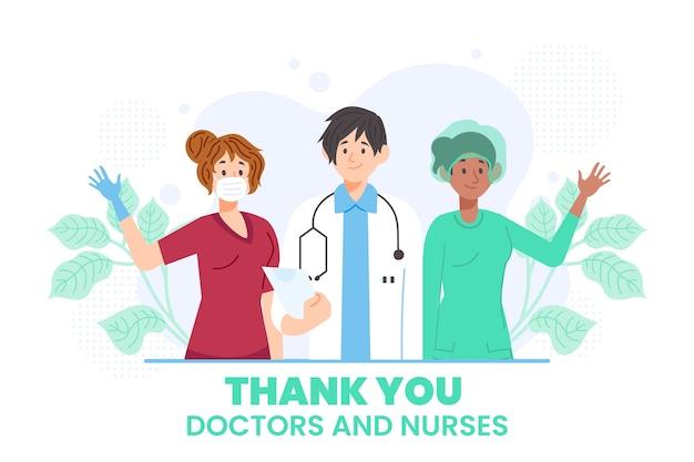Waardering illustratie van artsen en verpleegkundigen