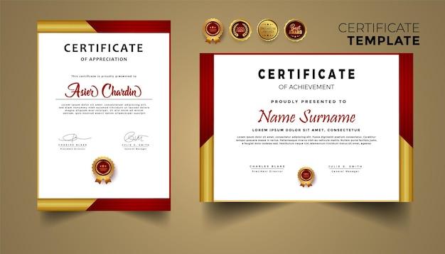 Waarderingscertificaat in rode en gouden kleur met randsjabloon