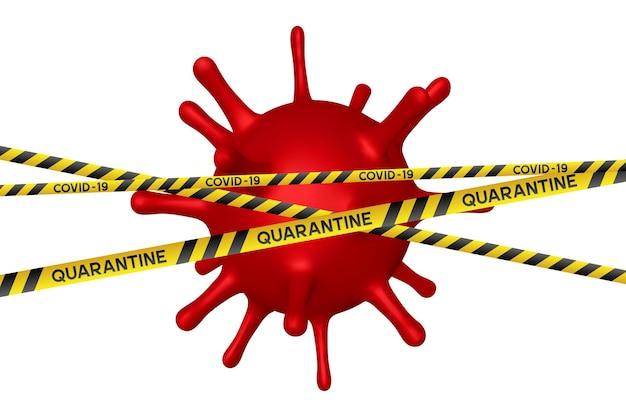 Waarschuwing coronavirus quarantainebanner met gele en zwarte strepen en rode viruscel.