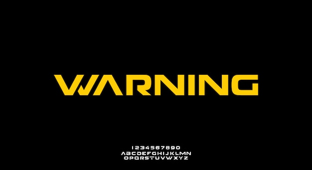 Waarschuwing, een abstract futuristisch alfabetlettertype met technologiethema. modern minimalistisch typografieontwerp