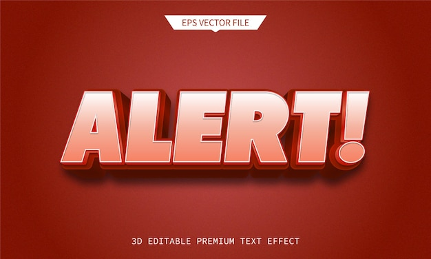 Waarschuwing en fout 3d bewerkbare teksteffectpremie