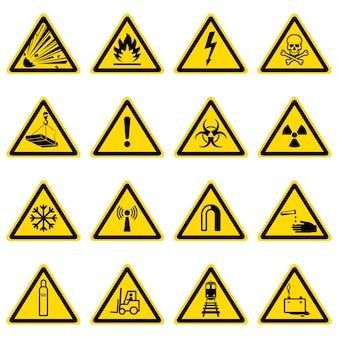 Waarschuwing en gevaarsymbolen op gele driehoekeninzameling