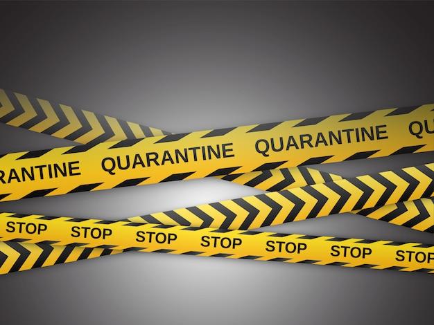 Waarschuwing gele en zwarte banden. veiligheidsheklinten. wereldwijd pandemisch coronavirus covid-19. vector illustratie