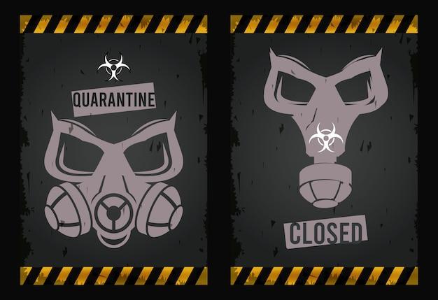 Waarschuwing gevaarvirus met maskers