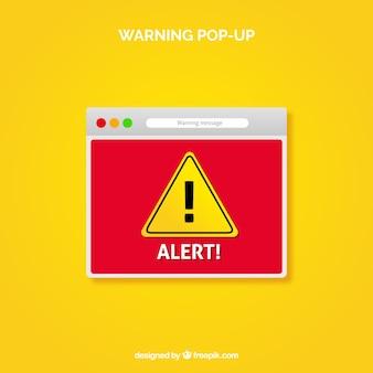 Waarschuwing pop-up met platte ontwerp