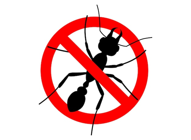 Waarschuwingsbord geen insect. anti mier. geen mieren vectorteken voor insecticide. verboden teken. symbool voor informatieve en institutionele sanitaire voorzieningen en aanverwante zorg. let op, stop, waarschuwing platte vector teken