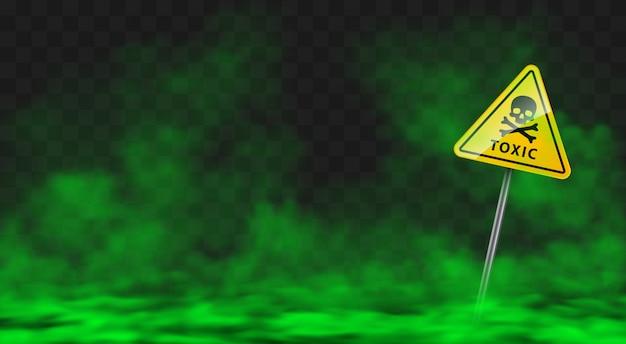 Waarschuwingsbord in giftige groene rook of mistwolken