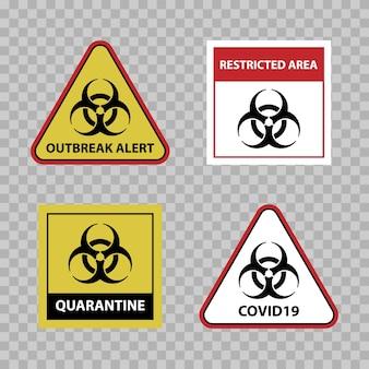 Waarschuwingsbord voor biologisch gevaar, waarschuwing voor uitbraak van covid 19