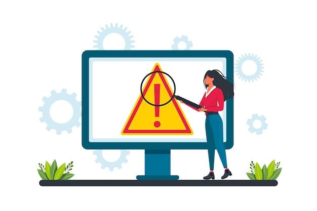 Waarschuwingsfoutconcept, zakenman die naar een internetstoringsscherm op een computer kijkt. concept besturingssysteem foutwaarschuwing voor webpagina, banner, presentatie, sociale media, documenten, posters.
