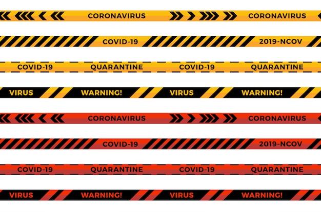 Waarschuwingsstrepen. coronavirus waarschuwt naadloze strepen. covid-19 borden. waarschuwingslijn collectie zwarte, rode en gele kleur, geïsoleerd op een witte achtergrond.