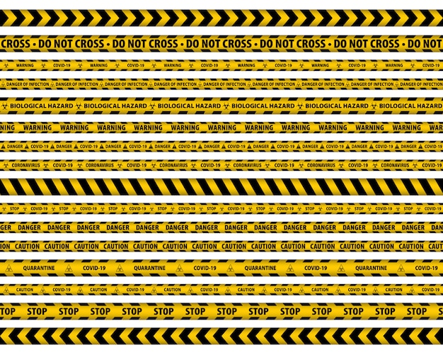 Waarschuwingstape. geel en zwart. gevaar tape.