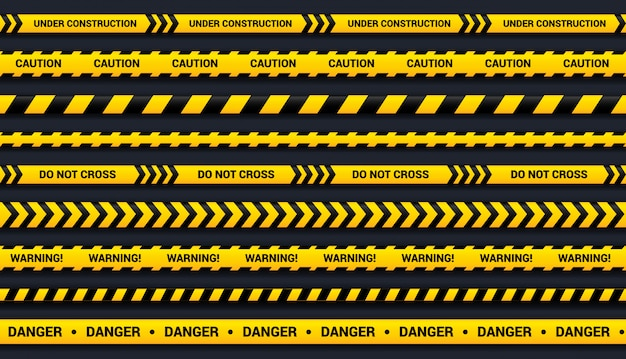 Waarschuwingstape set gele en zwarte linten, voor gevaarlijk gebied, ongeval, politie. tape sjabloon met schaduw op donkere achtergrond.
