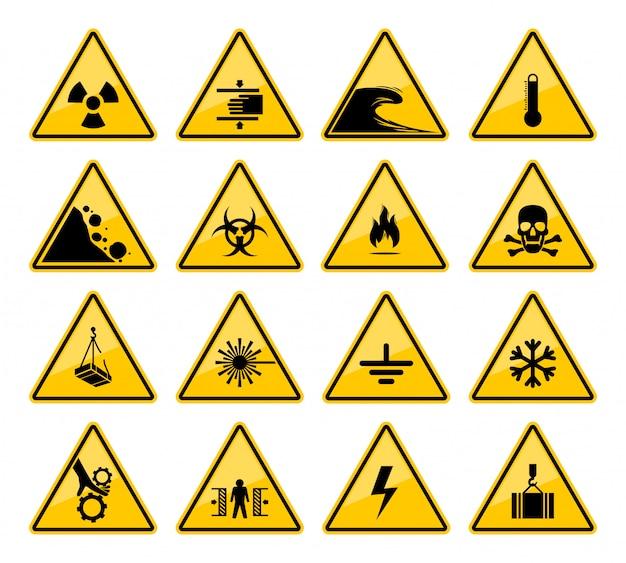 Waarschuwingstekens van gevaar en gevaar voorzichtigheid