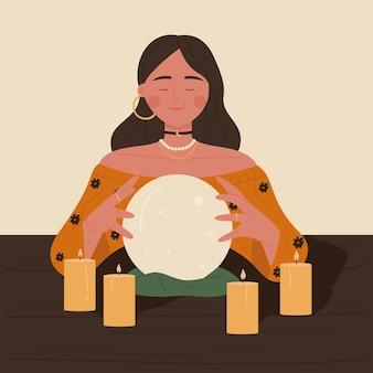 Waarzegster vrouw leest toekomst op magische kristallen bol