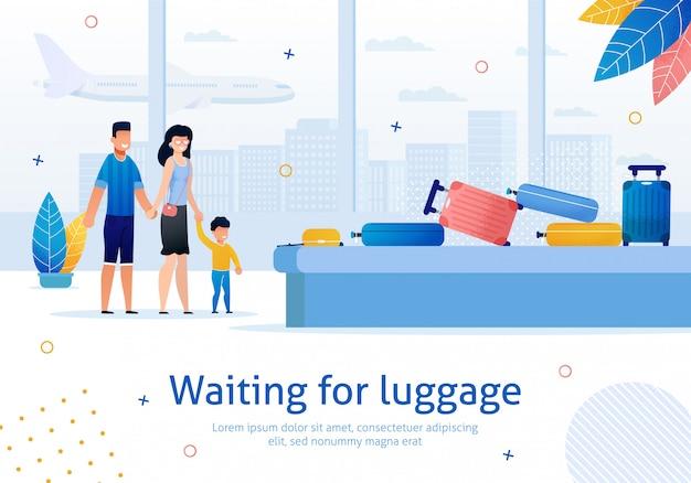 Wachten op bagage in airport flat banner