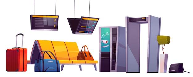 Wachtkamer in luchthaventerminal met stoelen, bagage, beveiligingsscanner en schemadisplay