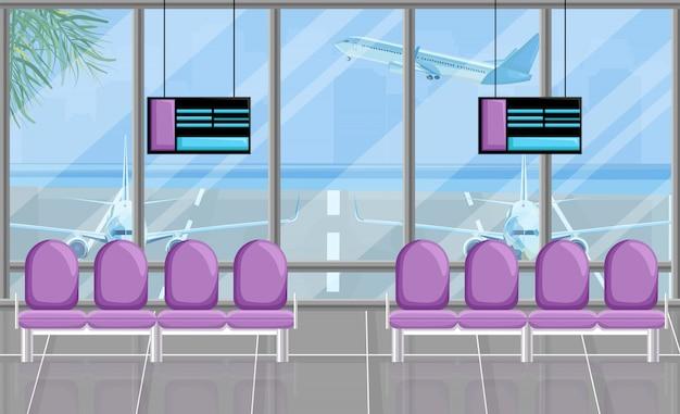 Wachtkamer van de luchthaven aan de poorten