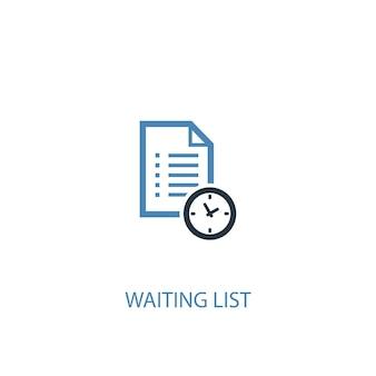 Wachtlijst concept 2 gekleurd icoon. eenvoudige blauwe elementenillustratie. wachtlijst concept symbool ontwerp. kan worden gebruikt voor web- en mobiele ui/ux