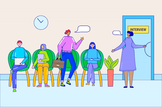 Wachtrij bij sollicitatiegesprek kantoor illustratie. mensen uit het bedrijfsleven kandidaten voor vacature in de rij zitten, werk werving