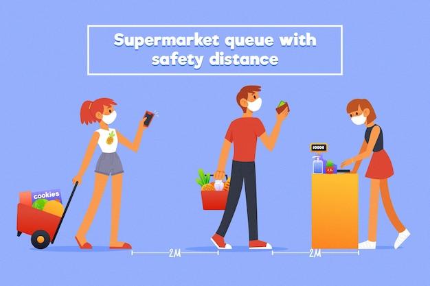 Wachtrij supermarkt