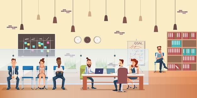 Wachtrij van werknemers, mensen werken op kantoor op kantoor
