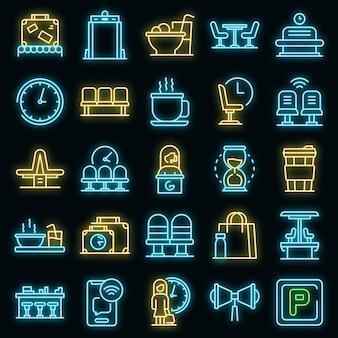 Wachtruimte pictogrammen instellen. overzicht set wachtruimte vector iconen neon kleur op zwart