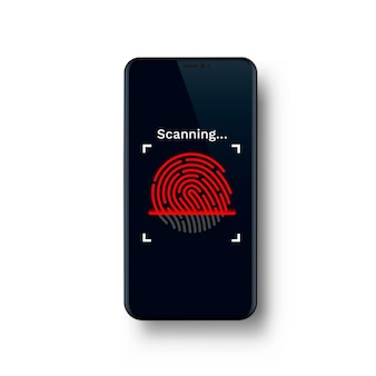Wachtwoord touch id-telefoon op de witte achtergrond. vector illustratie